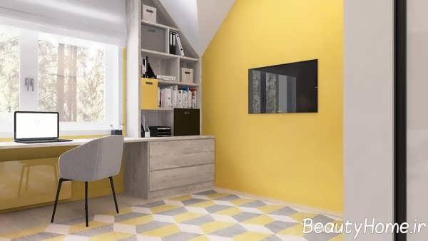 طراحی زیبای اتاق با تم زرد و سبز