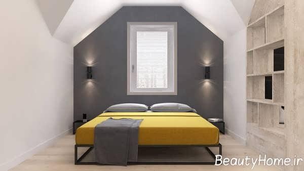 اتاق خواب مدرن با تم زرد
