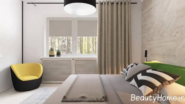 طراحی زیبای اتاق خواب با تم ترکیبی