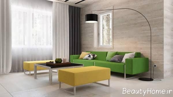 اتاق نشیمن با تم ترکیبی