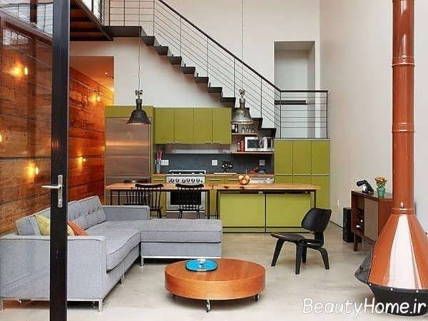 طراحی جذاب اتاق پذیرایی با تم خاکستری