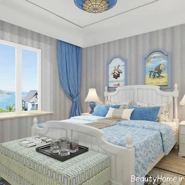 اتاق خواب با دیزاین کاغذ دیواری راه راه