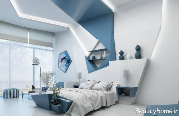 دکوراسیون سفید و آبی اتاق خواب