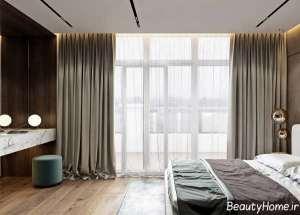 دکوراسیون بنفش و سفید اتاق خواب