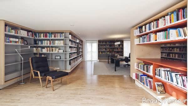 دکوراسیون کتابخانه شیک و بزرگ