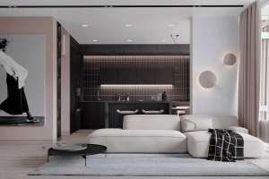اتاق پذیرایی با نورپردازی مدرن
