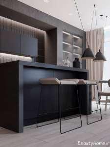 آشپزخانه با رنگ تیره