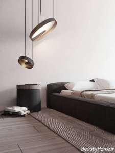 چیدمان بژ-سفید و سیاه اتاق خواب