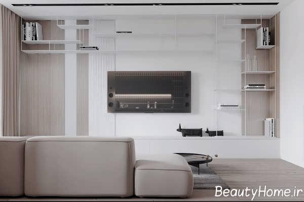 دکوراسیون اتاق پذیرایی با رنگ سفید