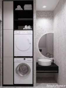 دیزاین سرویس بهداشتی با رنگ ترکیبی بژ-سفید