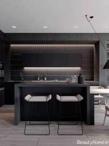 دیزاین متفاوت آشپزخانه با تن تیره
