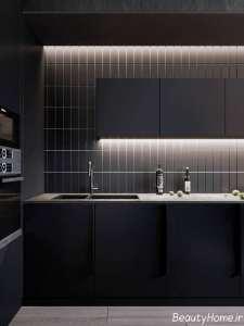 آشپزخانه زیبا با نورپردازی مدرن