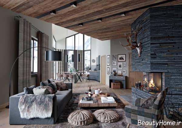 طراحی زیبا و شیک سالن پذیرایی