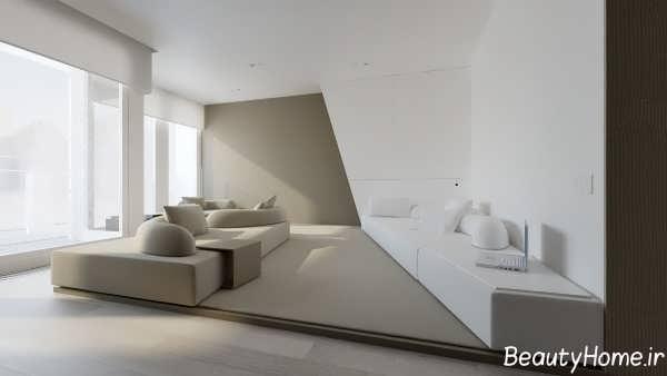 دکوراسیون سفید سالن پذیرایی