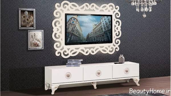 میز تلویزیون دیواری و سفید