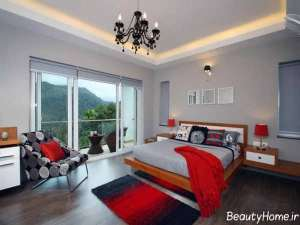 دکوراسیون قرمز و طوسی اتاق خواب