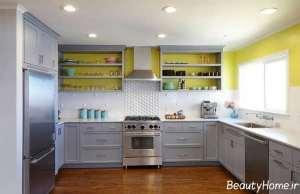 دکوراسیون زرد و طوسی آشپزخانه