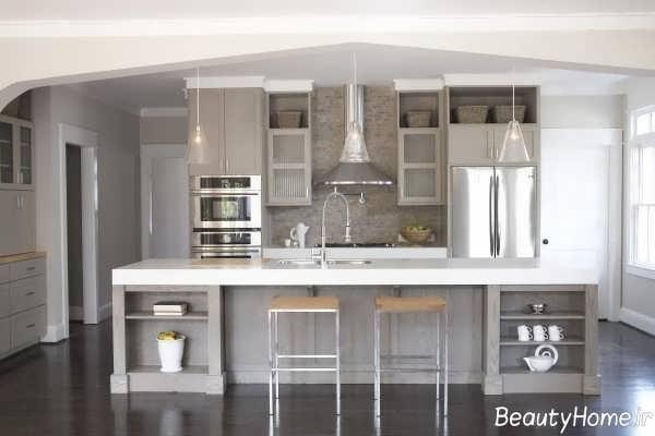 دکوراسیون طوسی آشپزخانه