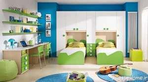 دکوراسیون اتاق خواب سبز و سفید