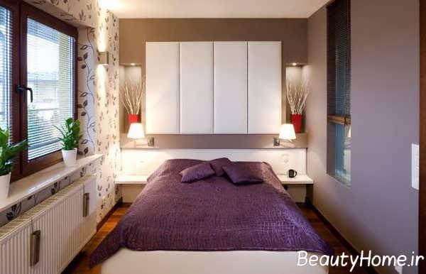 دکوراسیون اتاق خواب سفید و بنفش