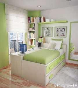 دکوراسیون سبز و سفید اتاق خواب