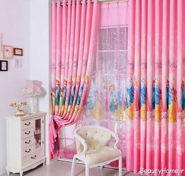 مدل پرده شیک و صورتی برای اتاق کودک