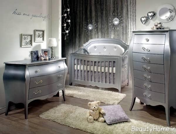 مدل سرویس خواب نقره ای برای نوزاد