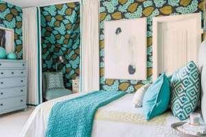 اتاق خواب با کاغذ دیواری
