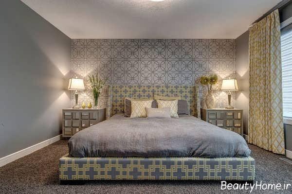 دیزاین داخلی اتاق خواب با کاغذ دیواری طرح دار