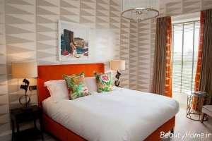 طراحی دکوراسیون داخلی اتاق خواب با کاغذ دیواری