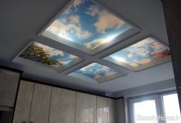 طراحی سقف به صورت آسمان مجازی برای آشپزخانه