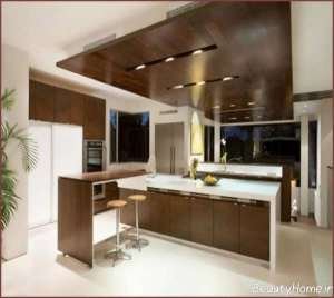 طراحی سقف آشپزخانه با ام دی اف
