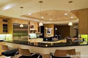 طراحی سقف آشپزخانه با چوب