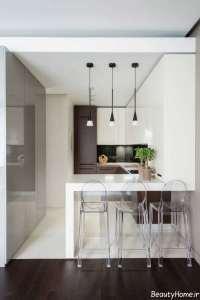 دکوراسیون آشپزخانه سفید و کوچک