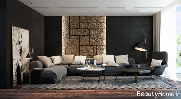 دکوراسیون طلایی و خاکستری اتاق نشیمن