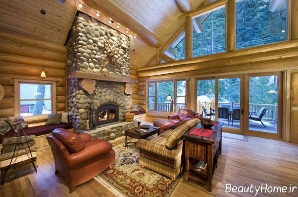 طراحی داخلی خانه چوبی شیک