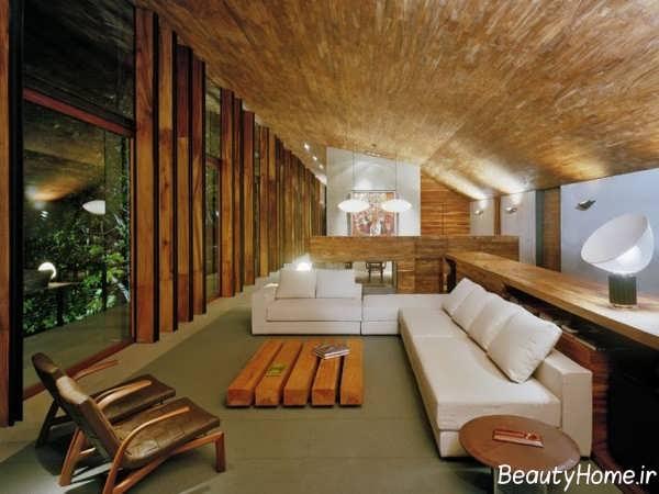 دکوراسیون داخلی شیک خانه چوبی