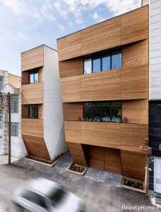 نمای چوبی و شیک خانه آپارتمانی