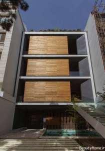 نمای چوبی ساده ساختمان
