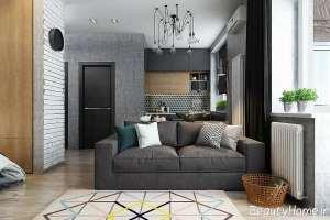 طراحی داخلی اتاق نشیمن خاکستری