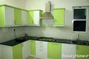 مدل کابینت سبز و سفید