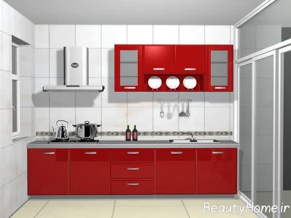 مدل کابینت قرمز و زیبا