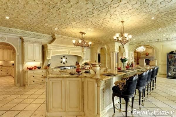 دکوراسیون طلایی آشپزخانه کلاسیک