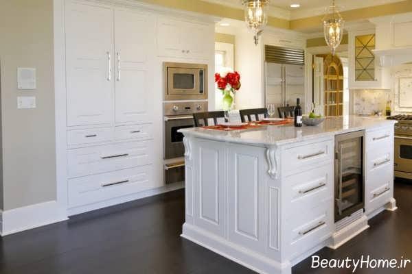 دکوراسیون سفید و شیک آشپزخانه عربی