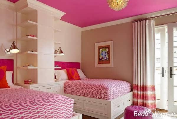 دکوراسیون اتاق خواب دخترانه دو تخته