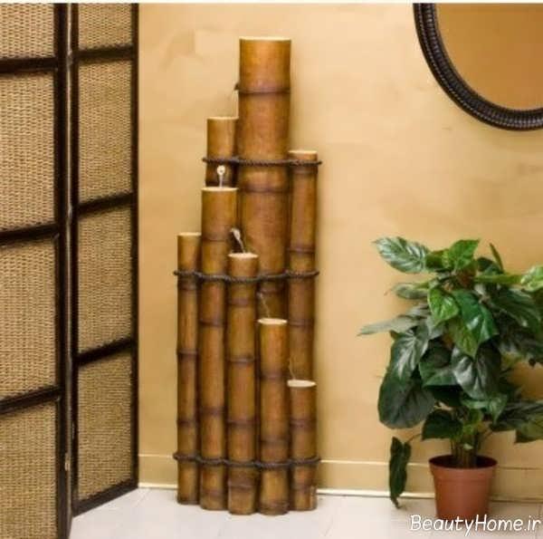 تزیین سالن پذیرایی با چوب بامبو
