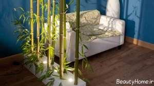 تزیین اتاق نشیمن با چوب بامبو