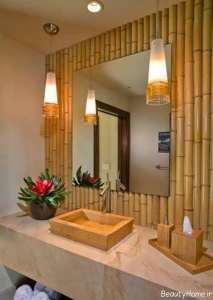 تزیین سرویس بهداشتی با چوب بامبو