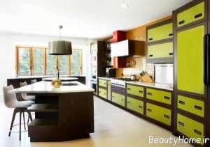 طرح کابینت دو رنگ آشپزخانه