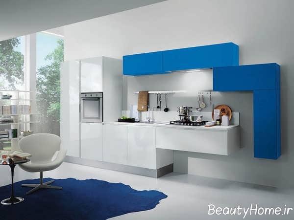طرح کابینت آبی و سفید